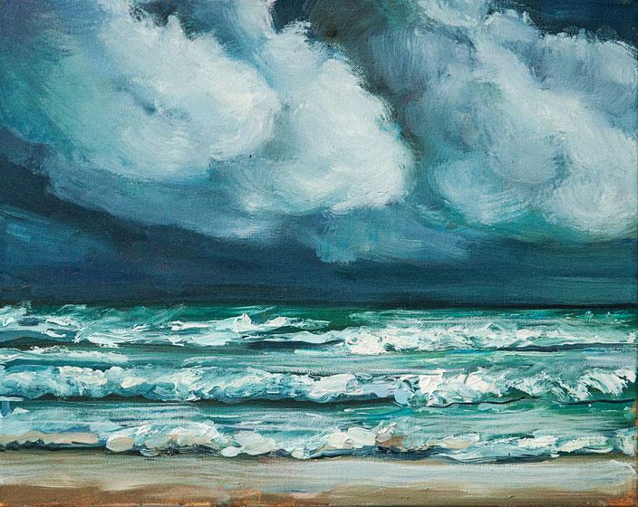 gemälde, acryl painting, malerei, tanja gott, port, harbor, boat, boot, schiff, küste, mixed media, clouds wolken strand wellen