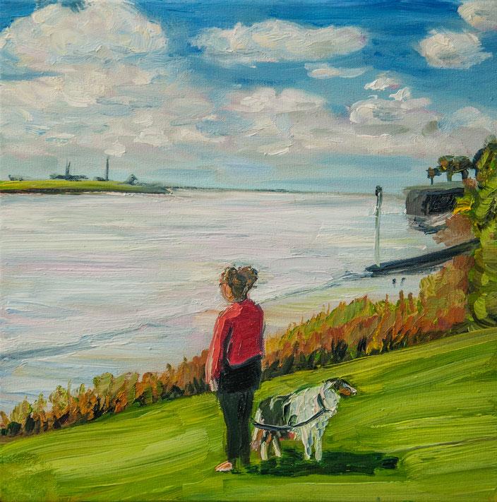 gemälde, acryl painting, malerei, tanja gott, port, harbor, boat, boot, schiff, küste, mixed media, coast dog hund