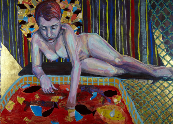 art painting oil painting Gemälde Malerei Tanja Gott pain and paradise, himmel, hölle, gold, women, frau, nude, bad, blut, seil