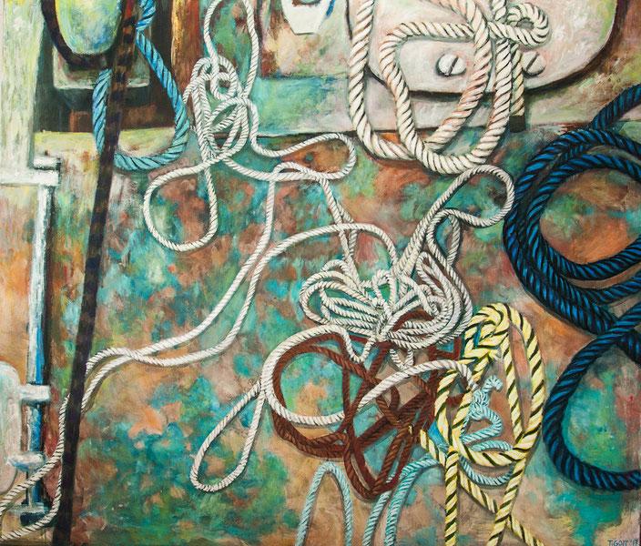 gemälde, acryl painting, malerei, tanja gott, port, harbor, boat, boot, schiff, küste, mixed media, hafen, seile, netz, fischen