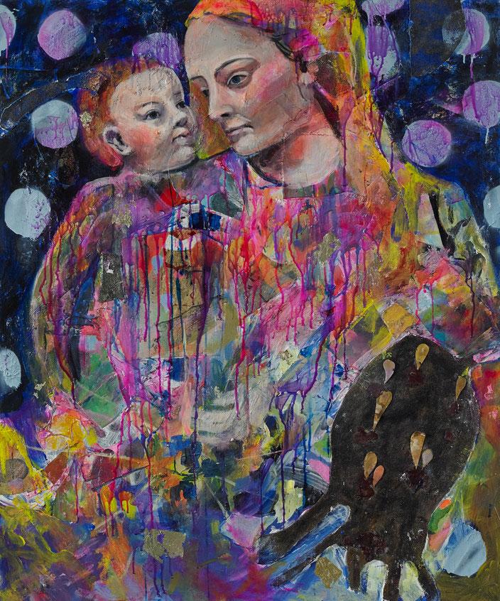 art painting oil painting Gemälde Malerei Tanja Gott pain and paradise, himmel, hölle, fau woman, baby, kind, maria, daydream, verlaufen, wasser, mutter