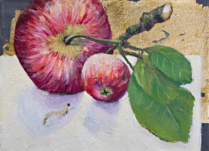 gemälde, malerei, tanja gott, garden, holy, gold, gold painting, grapes, trauben, garten, pflanzen, apfel, apple, frucht, obst, red