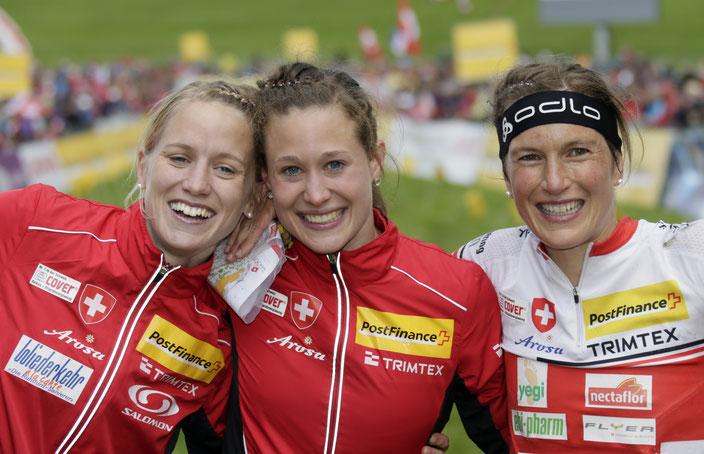 2012 OL WM Schweiz - erster Weltmeistertitel in der Staffel mit Ines Brodmann und Simone Niggli in Lausanne.