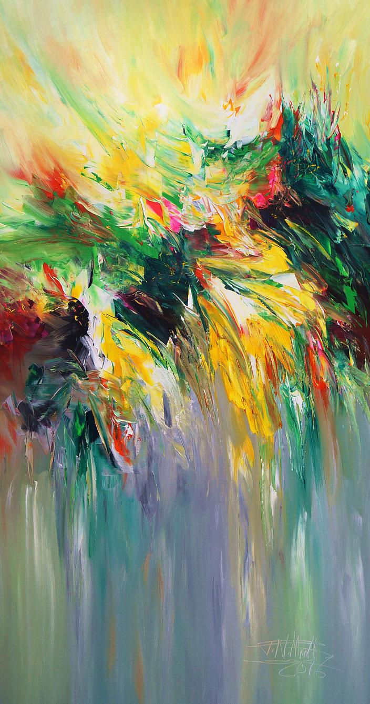Abstraktes Acrylbild in Grün. Original Gemälde auf Leinwand.