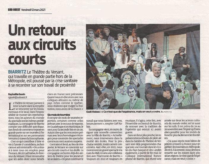 Théâtre - Théâtre du Versant - Biarritz - Sud Ouest - presse - annulations tournées - annulation spectacle - crise covid - culture en danger