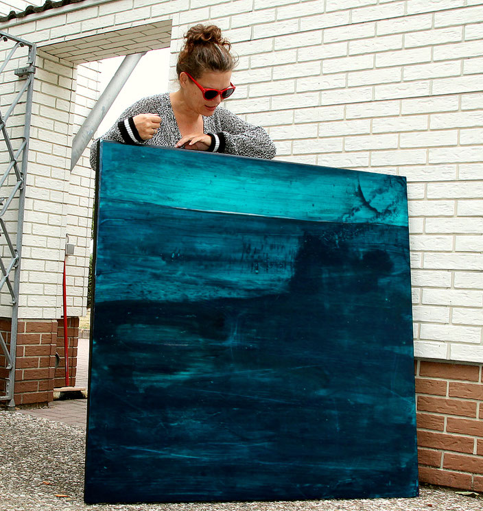 blaues Landschaftsbild abstrakt