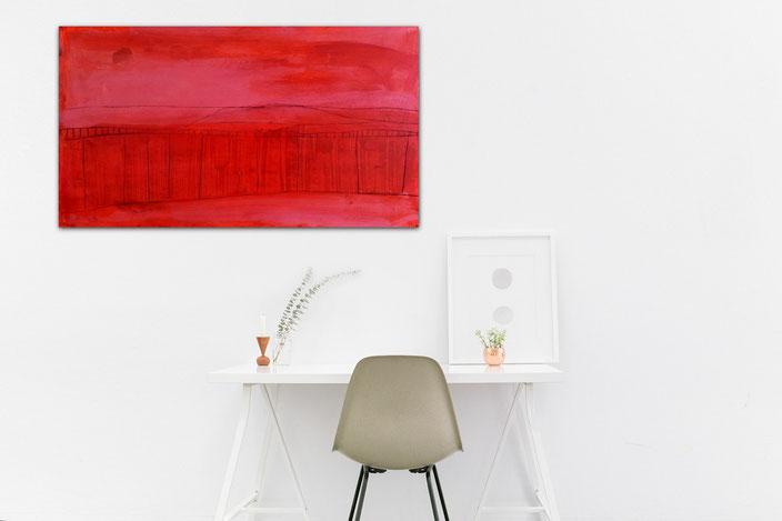 Bild Rot Querformat - 150 x 80 cm