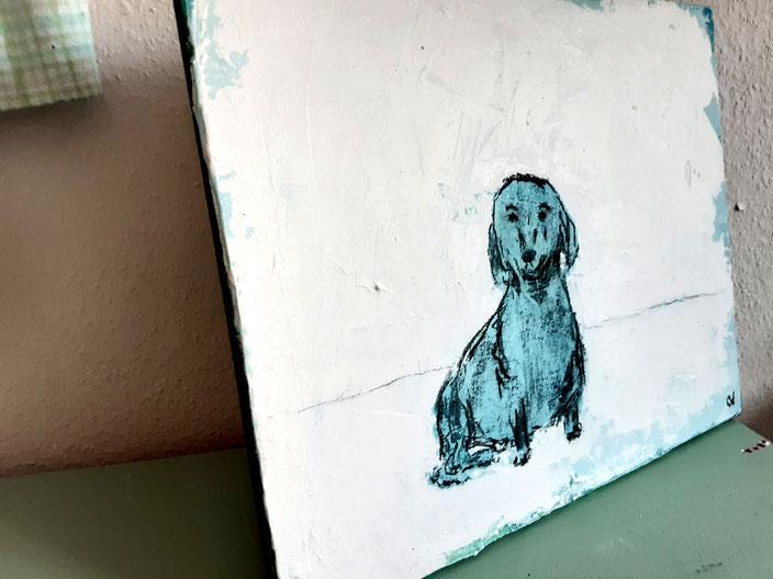 gemalter Hund