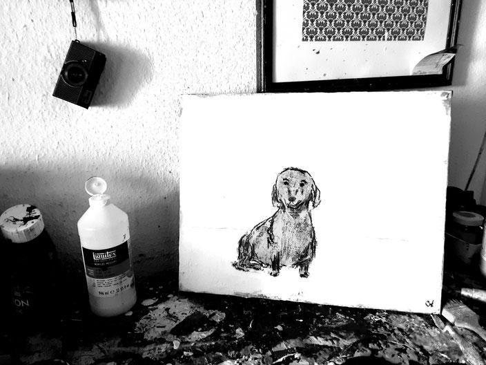 Hund gemalt