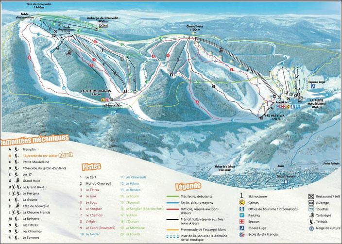 Plan des pistes de ski à Gérardmer
