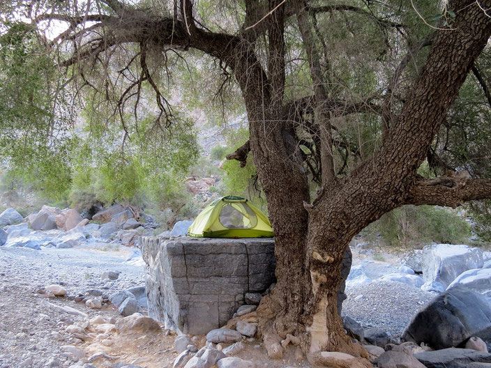 Wadi Oman Zelt grenzenlosunterwegs