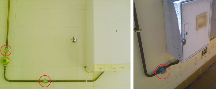 Llaves de corte en instalación de propano canalizado. AprendEmergencias