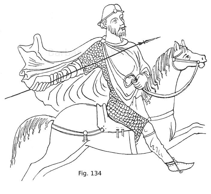 Fig. 134. Figur des Saul aus dem Codex aureus von Sankt Gallen. 8. Jahrhundert.