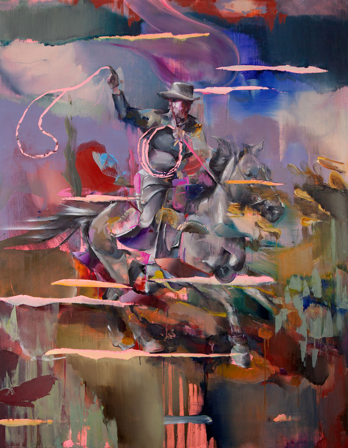 LASSO THROWER, 180x140 cm, oil on linen, 2018