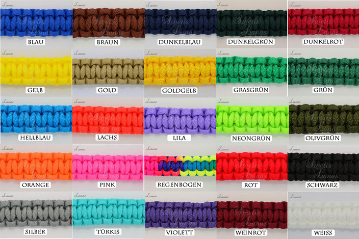 Paracord 550, Paracord, Parachute Cord Farbauswahl