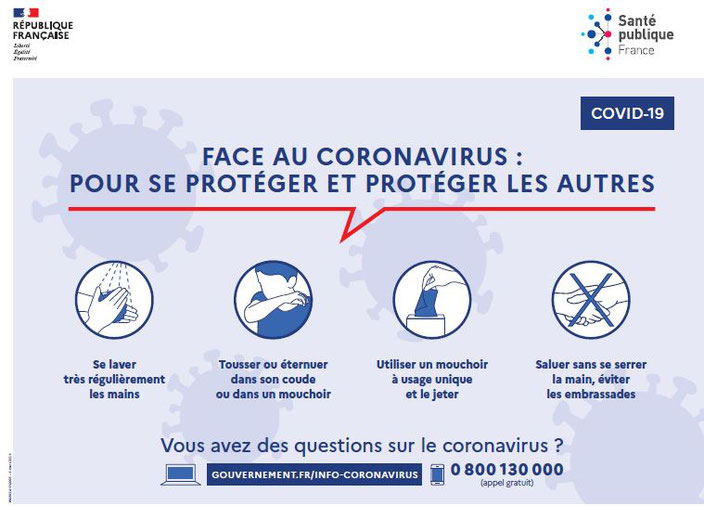 CORONAVIRUS (COVID-19) - Info prevention - Gestes barrières