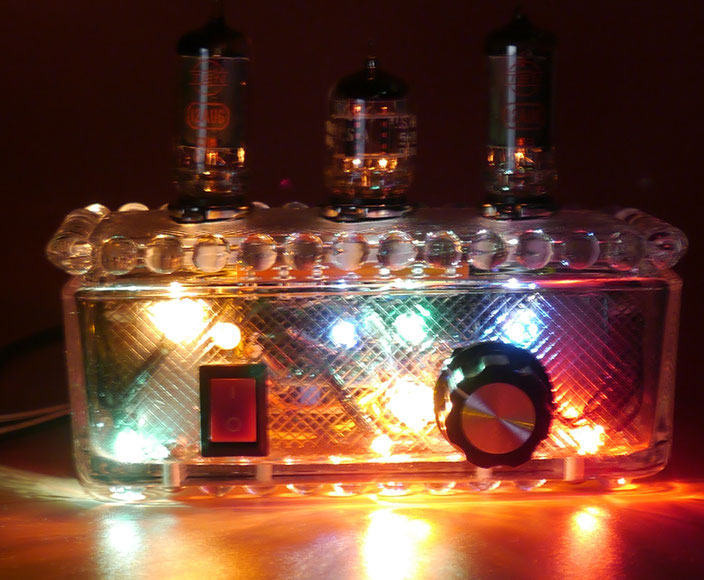 6AU6 Glass AMP - Xmas Version small stereo  tube amp 6AU6魅惑の真空管ミニアンプ- 小型真空管アンプ自作