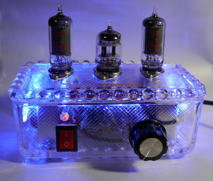 6AU6 Glass AMP 6AU6魅惑の真空管ミニオーディオアンプ自作 DIY-Audio   vacuum tube small stereo amplifier