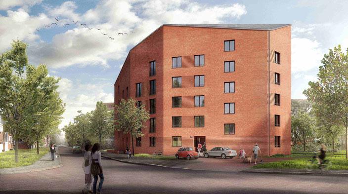 So soll das neue Mehrfamilienhaus mit 28 öffentlich geförderten Wohnungen aussehen (c) Gewoba