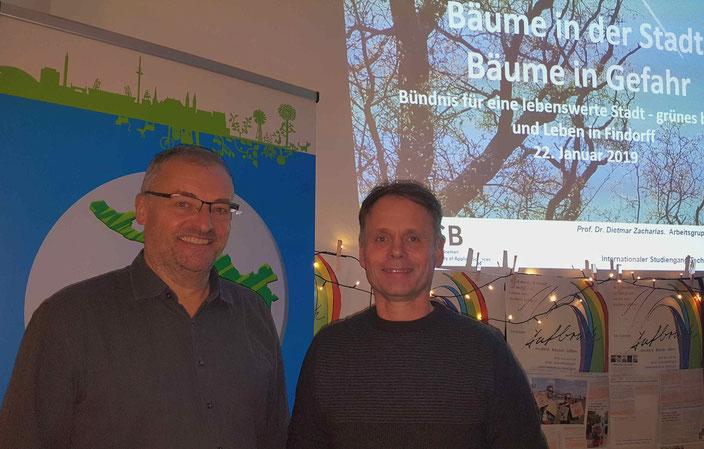 Stadtgeprächsgast Prof. Dietmar Zacharias mit Ulf Jacob, Sprecher Bündnis lebenswerte Stadt und Mitglied des Beirates Findorff (re.)