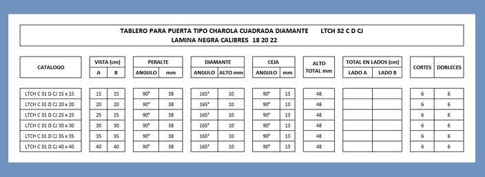 TABLERO PARA PUERTA TIPO CHAROLA CUADRADA DIAMANTE CON CEJA CALIBRE 18 20 22