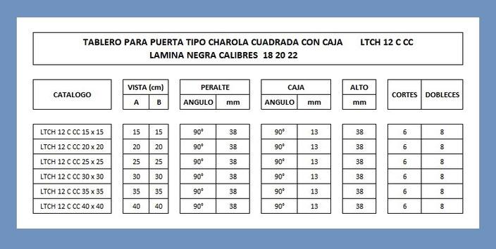 LAMINA TABLERO TIPO CHAROLA CUADRADA CON CAJA