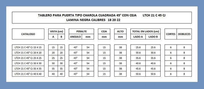 LAMINA TABLERO TIPO CHAROLA CUADRADA 45° CON CEJA