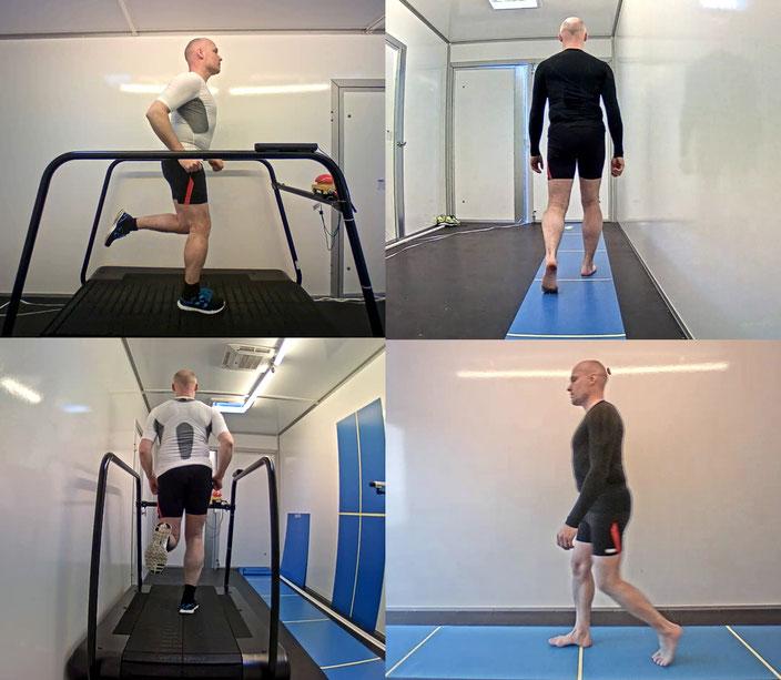 Ganganalyse für eine umfangreiche orthopädische Beurteilung-Gehstrecke, Laufband, barfuß und mit Schuhen