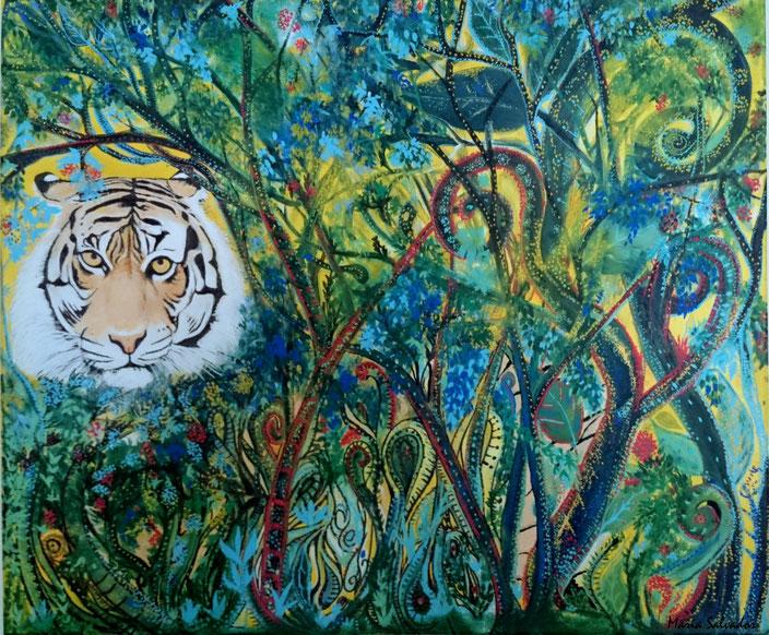 """Tableau peinture acrylique sur toile de coton 50 x 60 cm. Titre """"Le tigre dans la forêt tropical"""""""