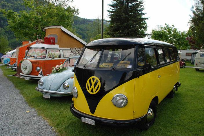 Bunte Mischung an VW Fahrzeugen am Käfertreffen.ch