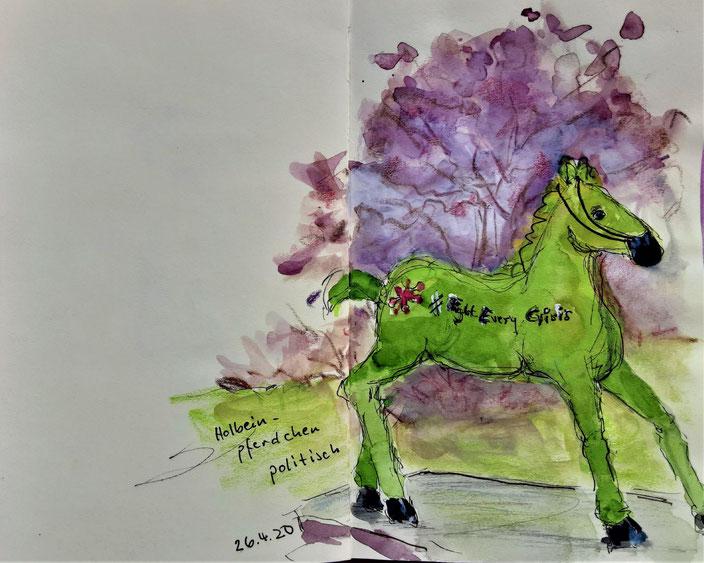 Freiburger Corona-Impression /Zeichnung: Hannelore Bastian