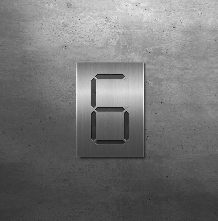"""Segment-Hausnummer """"6"""" schwarz hinterlegt"""
