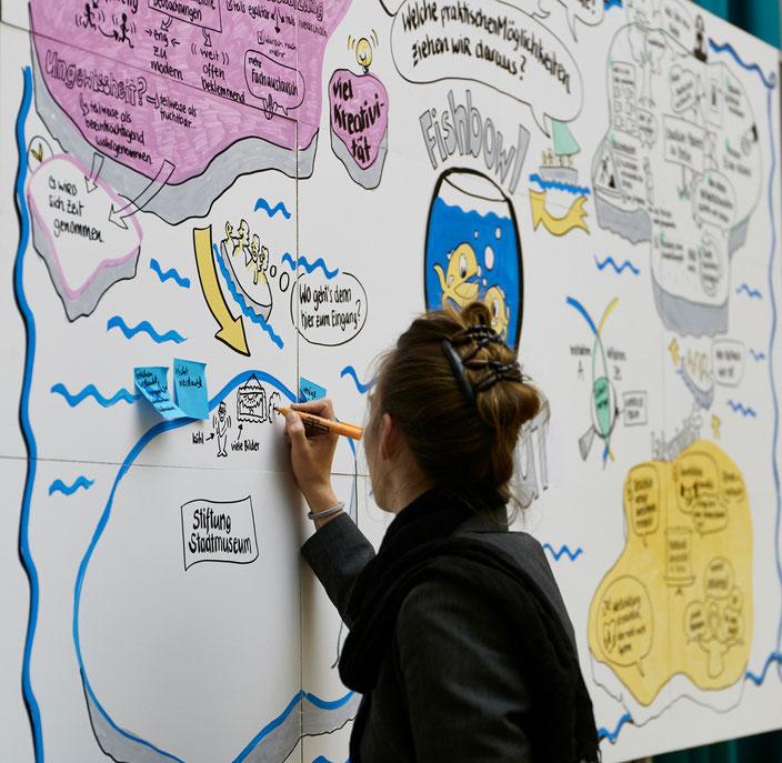 Portrait der Künstlerin Veruschka Bohn aka Miss Vizzz beim Live Zeichnen einer Fishbowl Diskussion im Berliner Dom. Ein Graphic Recording entsteht vor den Augen des Betrachters.
