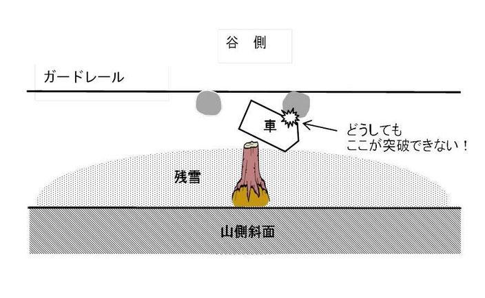 倒木が道を塞ぐ現場の図(2)
