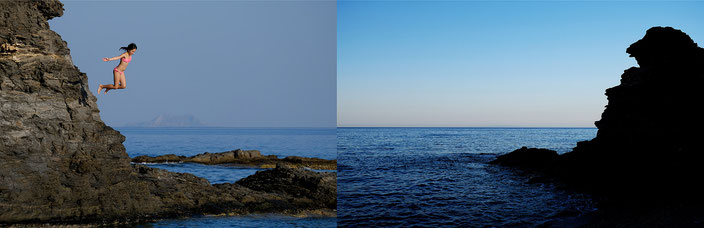 Mathieu Guillochon photographe, Grèce, Crète, Rodakino, mer, Méditerranée, plage, plongeuse, rocher, le sphinx de Koraka, couleurs, aube, série rivages, bleus