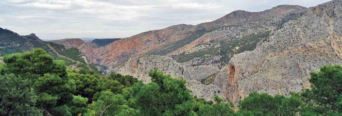 """Blick über das Tal des """"Caminito del Rey"""""""