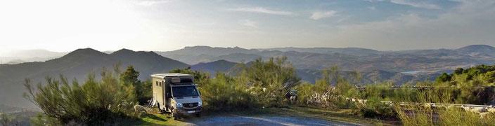 Unser Stellplatz in den Bergen über El Chorro