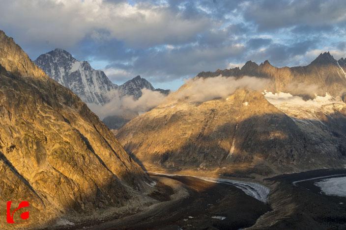 Finsteraarhorn, Alpenglühen, Finsteraargletscher, Unteraargletscher, Glacier, Schreckhorn, Lauteraar Rothörner, Hugihorn