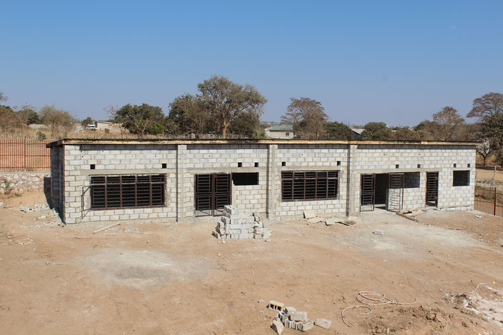 A picture of the canteen from the perspective of the school building