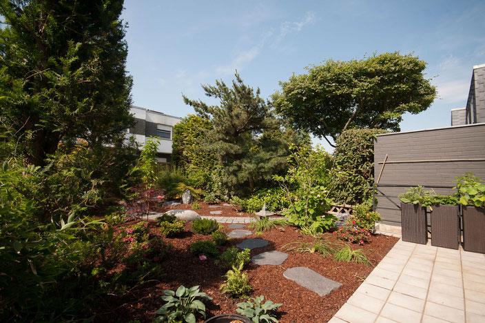 Eine Gartengrenze bei der die Nachbarbepflanzung in die Gestaltung integriert ist.