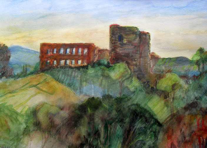 "Wilfried Scholl, ""Burg Windeck in idealisierter Landschaft"", Aquarell"