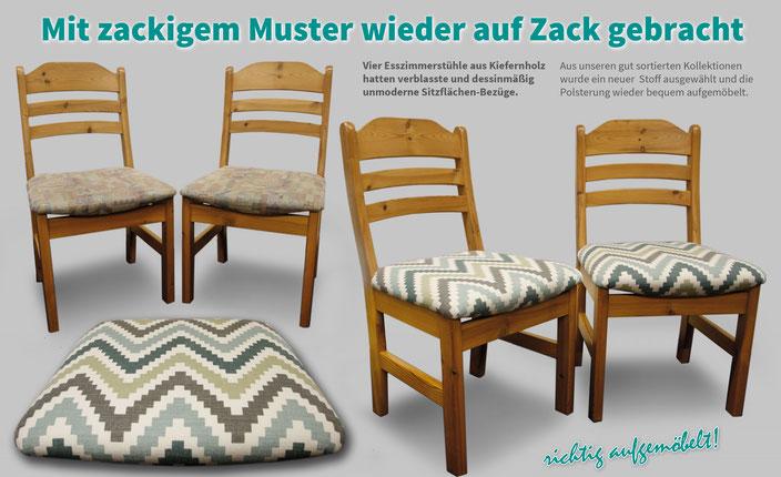Esszimmerstühle mit Sitzpolster. Grafischer, nordischer Bezugsstoff der Marke ROMO.