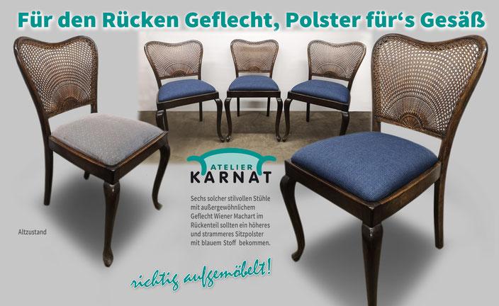 Stühle aufgepolstert in Blau mit Fleckschutz. Stoff Fleckschutz ausgerüstet. Einlegerahmen aufgespolstert.