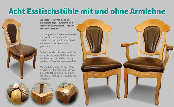 Esszimmerstühle neugepolstert mit Leder. Holzumbau und Holzarbeiten.
