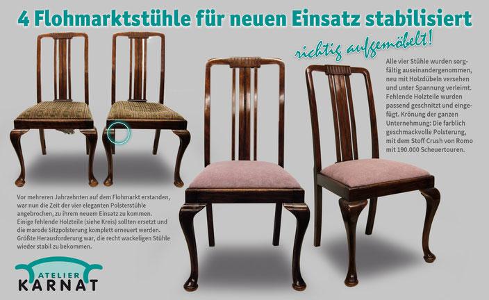 Stühle mit hoher Rückenlehne, Sitzpolster mit Federkern, neugepolstert mit Stoff von Romo Crush