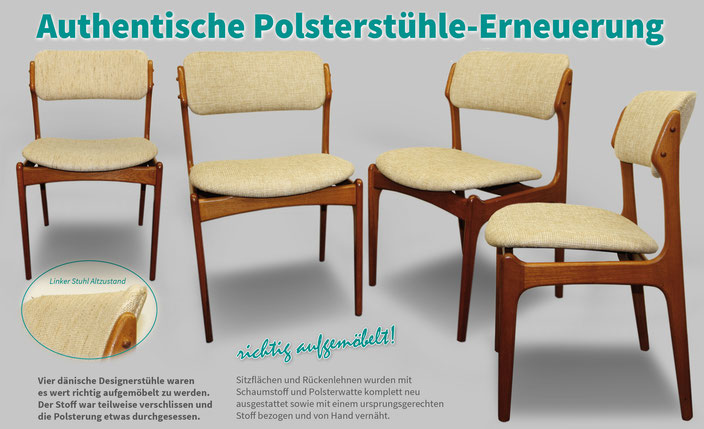 Dänische Designerstühle wie neu gepolstert.