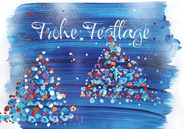 farbenfrohe Weihnachtskarte für die Stiftung Theodora / Traumdoktoren