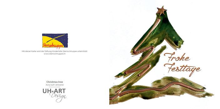 Die Kunstkarte für den guten Zweck. Jede Weihnachtskarte spendet einen Franken an die Stiftung Sternschnuppe