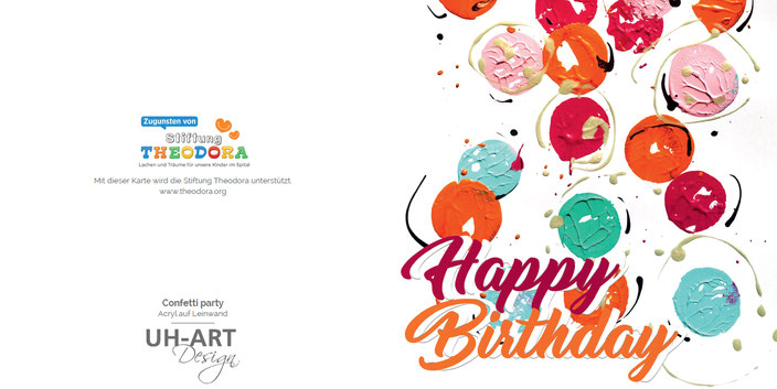 Diese Geburtstagskarte spendet an die Stiftung Theodora. Die Kunstkarte für den guten Zweck.