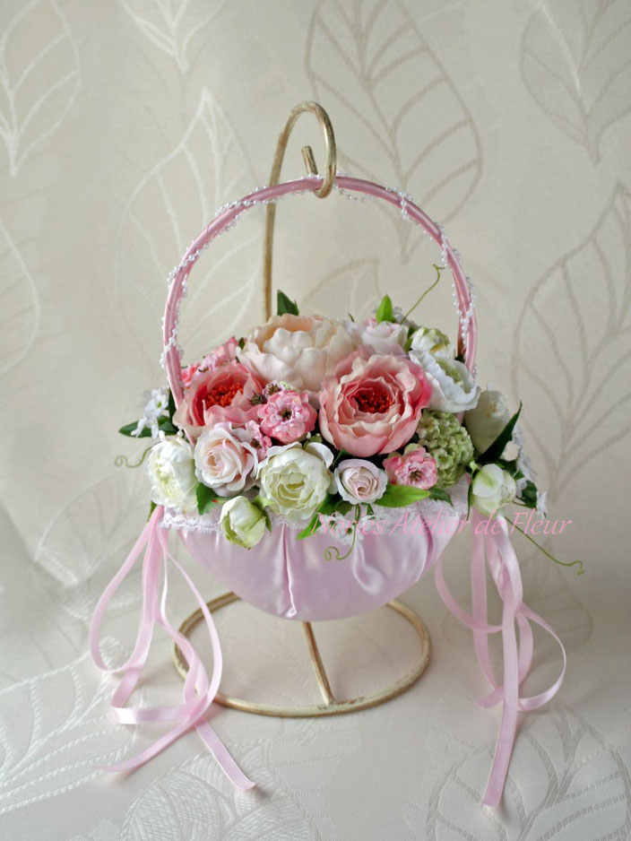 Clara クララ ピンクのバッグ型ブーケ アーティフィシャルフラワー